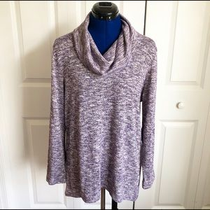 Chico's Purple Shimmer Cowl Neck Sweater